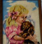 """Stickbild """"Mädchen mit Hund"""""""