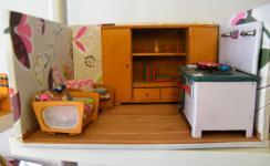 Puppenstube 50er Jahre mit zwei Zimmern